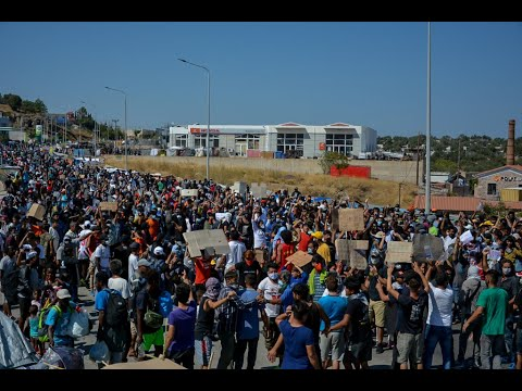 Μόρια: 2.000 μετανάστες διαδηλώνουν [VIDEO]