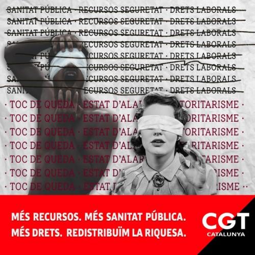 CGT Καταλωνίας: Η απαγόρευση της κυκλοφορίας είναι παράλογο, αναποτελεσματικό και αυταρχικό μέτρο