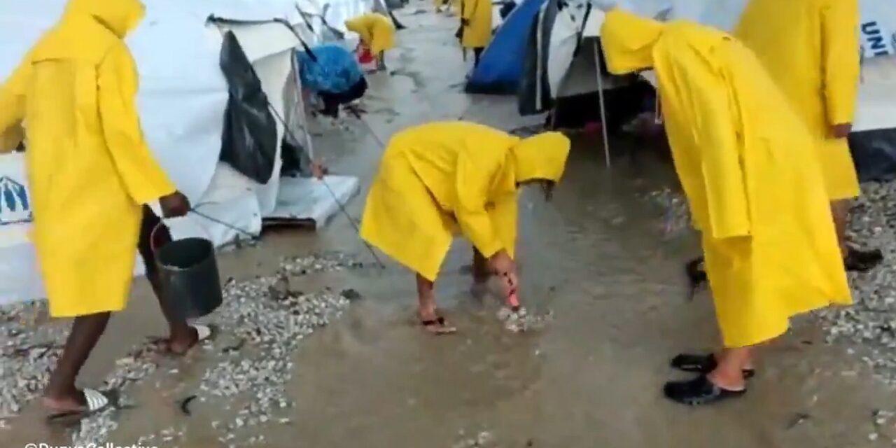[Video] Εικόνες ντροπής στο Καρά Τεπέ της Λέσβου – Πλημμύρισαν οι σκηνές των προσφύγων