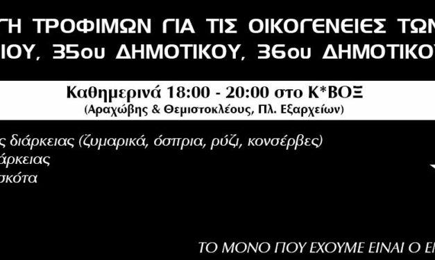 Ρουβίκωνας: Συλλογή τροφίμων για τις οικογένειες των 95ου Νηπιαγωγείου, 35ου Δημοτικού, 36oυ Δημοτικού Αθηνών
