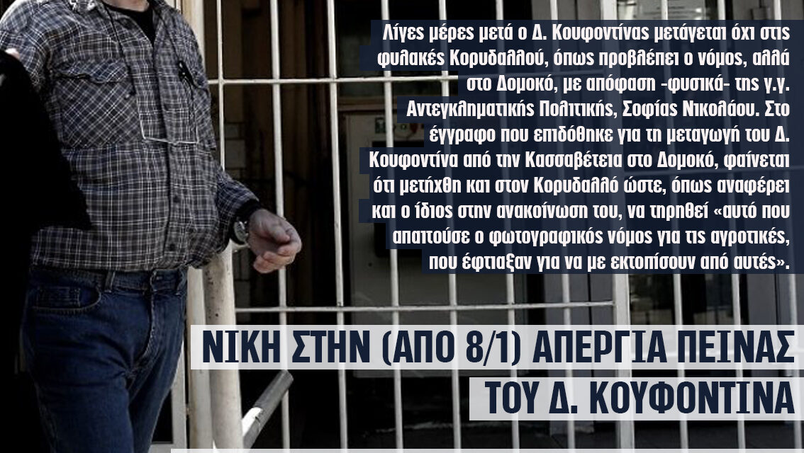Νίκη στην απεργία πείνας (από 8/1) του επαναστάτη Δ. Κουφοντίνα