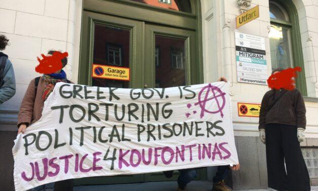 [Video] Αναρχική παρέμβαση για Κουφοντίνα στην ελληνική πρεσβεία (Στοκχόλμη, Σουηδία)